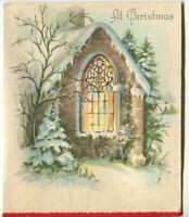 VINTAGE CHRISTMAS EMBOSSED STONE CHAPEL STAINED GLASS WINDOW SNOW TREES ART CARD