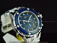 Invicta Men 52mm Subaqua MirrorPolished Chrono Indigo Blue Wood Dial Strap Watch