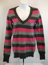 Gap Striped Sweater, Soft, Grays and Neon Pink, size Small ☆ FREE Shipping!