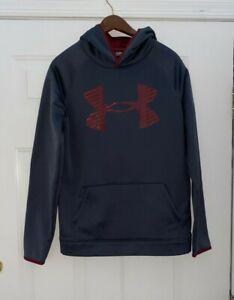 UNDER ARMOUR Gray Burgundy Logo Hoodie Sweatshirt YXL Youth XL COLDGEAR Loose