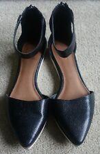 Next ladies black faux snake skin flat shoes UK 6.5 in vgc