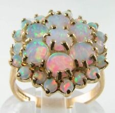 IMPRESSIVE HUGE ENGLISH MADE 9K FIERY OPAL 25 STONE CLUSTER RING, FREE RESIZE