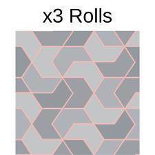 x3 Rolls Grey Rose Gold Geometric Hexagon Wallpaper Metallic Sheen Modern Rasch