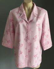 Pre-owned MILLERS Pink Floral Print 3/4 Sleeve Blouse/Shirt Size12
