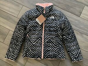 NORTH FACE GIRLS REVERSIBLE MOSSBUD SWIRL JACKET, TNF BLACK/PINK, NWT, S (7/8)