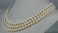 """Genuine AAA+ 6.5-7mm round white akoya sea pearl necklace 50"""" 14k gold clasp"""