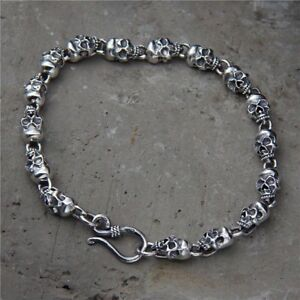 """Solid 925 Sterling Silver Mens Skull Beaded Chain Cuff Bracelet 8.26"""" 21mm"""