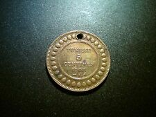 1908 TUNISIA 5 CENTIMES COIN. SCARCE. USED IN JEWELLERY. LOVELY TONE