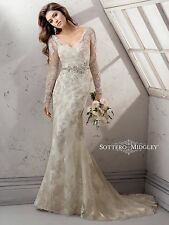 Maggie Sottero Wedding Dress Gown Anastasia Long Sleeve Beaded Size 18 NWT