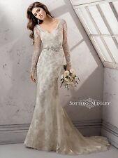 Maggie Sottero Wedding Dress Gown Anastasia Long Sleeve Beaded Size 18 NWT