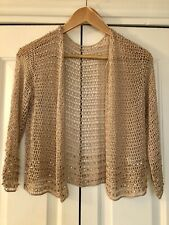 Topshop, Crochet Cardigan In Beige With Gold Beading, Size Medium