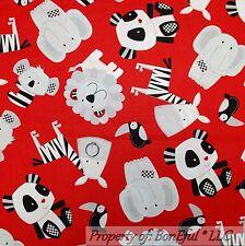 BonEful Fabric FQ Cotton Quilt Red Black Gray B&W Panda Bear Koala Lion Baby Boy