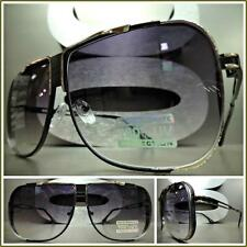 Men's CLASSIC VINTAGE RETRO Style SUN GLASSES Matte Black & Gold Fashion Frame