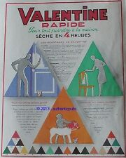 PUBLICITE VALENTINE PEINTURE RAPIDE CHEVAL SIGNE DE LODDERE DE 1929 FRENCH AD