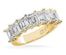 1.46 carat 7 Emerald Cut Diamond Ring Wedding Band Vs1 clarity 14k Yellow Gold