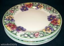 4 Gibson Purple Pansy Pansies & Green Lattice Dinner Plates