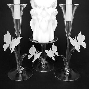 Butterfly Unity Taper Candle Holder Set of Blown Glass