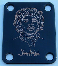 GUITAR NECK PLATE Custom Engraved Fits Fender Strat - JIMI HENDRIX - BLACK