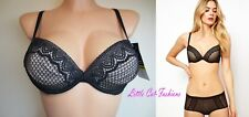 Wonderbra Bra Natural Lift Size 30DD Push up Underwired Plunge Black & Nude