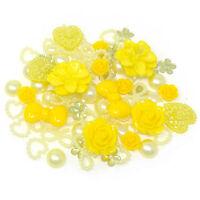 80 Mix Yellow Shabby Chic Resin Flatbacks Craft Cardmaking Embellishments