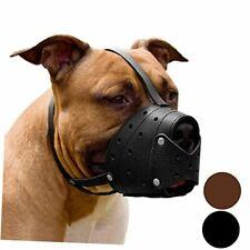 Leather Muzzle for Large Dog Biting Training Barking Secure Soft Pitbull Black