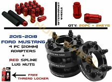 2015 Ford Mustang Hub Centric Wheel Spacers W/ 20PC Red Lug Nuts 14x1.5+ 2 Keys