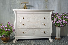 Commode Bois Acajou Style Rococo Retro Vintage Blanc Patine Ancien Patte De Lion