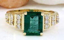 2.55 Carat Natural Emerald 14K Solid Yellow Gold Diamond Ring