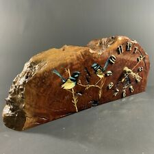 SUPERB VINTAGE REDGUM BURL CLOCK WITH SIGNED HAND PAINTED AUSTRALIAN FAIRY WRENS