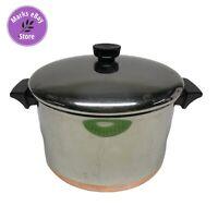 Vintage Revere Ware 1970's 6 Quart Copper Clad Stock Pot w/ Lid