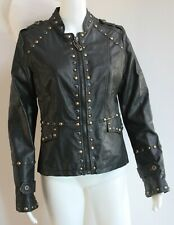 MARTIN ASTON BLACK LEATHER JACKET WITH BRASS AND BLACK STUDS