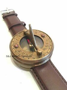 Antique Style Sundial Compass Wrist Watch Nautical Brass Marine Maritime Marine