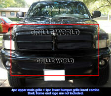 For 1999-2001 Dodge Ram Sport Model Black Billet Grill Insert Combo Pack