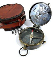 Antique Brass Kelvin Hughes Calendar Compass Leather Case Solid Gifts Christmas