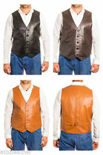 Button Leather Patternless Waistcoats for Men