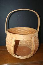 Rattan Bamboo Wicker Basket with Peek A Boo Window Wood Handle Wood Bottom