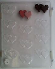 DOUBLE HEARTS BITE SIZE CLEAR PLASTIC CHOCOLATE CANDY MOLD V113