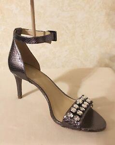 WMN Michael Kors Sylvie Mid heel Pump Sandal Metallic Leather Gunmetal MSRP $175