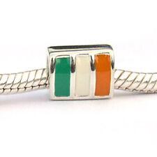 Ireland Flag Jewelry Charm Bead Big Hole Sterling Silver Carlo Biagi DSEF07
