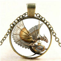 ONE Vintage Steampunk Dragon Photo Cabochon Glass Bronze Pendant CHAIN Necklace