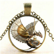 ONE Vintage Steampunk Dragon Photo Cabochon Glass Bronze Pendant CHAIN Necklace