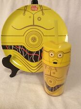 Star Wars C3PO Melamine Plastic Dinner Plate W/ Tumbler Straw Cup Child Gift New