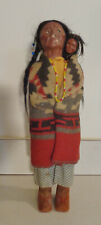 """Rare Antique Skookum """"Bully Good"""" Indian Doll And Papoose - Left Looking Eyes"""