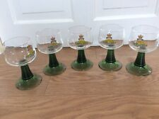 FIVE ROYAL ARTILLERY DECORATED  DRINKING GLASSES WITH GREEN STEM AND BASES