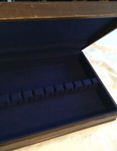 Vintage  Tarnish ResistIng Flatware Storage Box IS  Chest Dark Wood*
