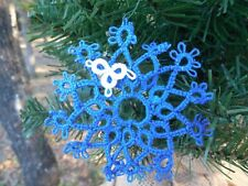 1 Tatted Snowflake Royal Blue Christmas Lace Shuttle Dove Country Tatting