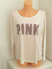 VICTORIA'S SECRET Crema Rosa VS MANICA LUNGA GRAFICA Baggy TOP XS-S-M-L
