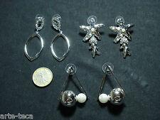 stock 3 coppie orecchini metallo perle strass bigiotteria lotto argento rivendi