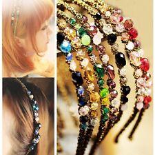 Women Girls Metal Rhinestone Crystal Headband Head Piece Chain Hair Band Jewelry