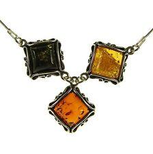 Ciondolo pendente ambra naturale baltica e collana girocollo argento 925 - 45cm